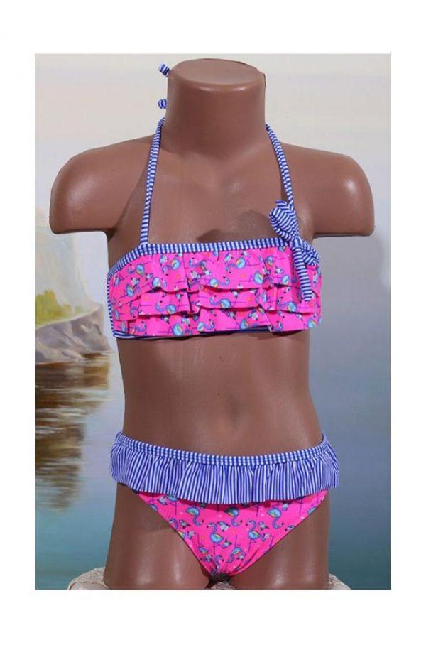 купальник для девочки раздельный, розовый фламинго 8130 фотография