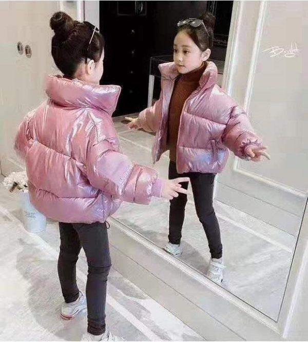 куртка для девочки на весну осень розовый перламутр 5988 фотография