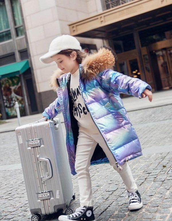 куртка на девочку зимняя пуховик перламутр 5622 фотография