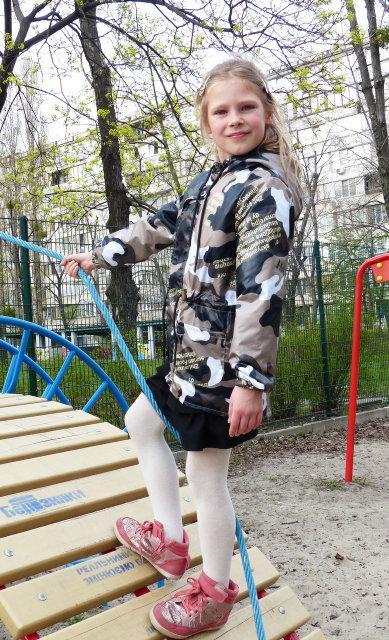 куртка ветровка для девочки, камуфляж 404188 фотография