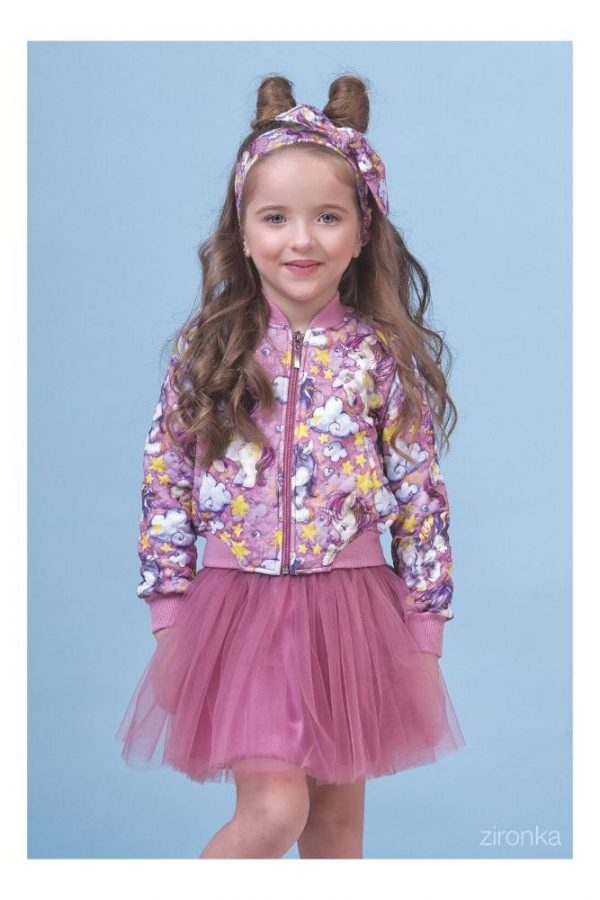 куртка ветровка для девочки трикотажная единорог 80011 фотография