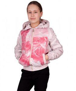детская куртка ветровка для девочки подростка, розы 220316 фотография