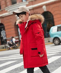 куртка зимняя натуральный пуховик для мальчика красная 48555 фотография