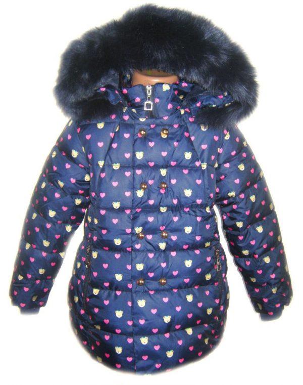 куртка зимняя на девочку, сердечко 191017 фотография
