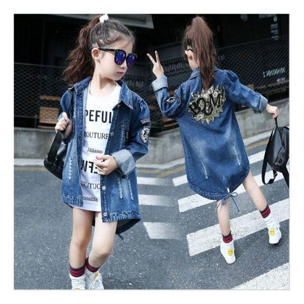 модная джинсовая куртка на девочку подростка, бум 33908 фотография