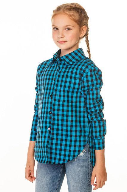 молодежная рубашка для девочки с модной расцветкой в клетку 1524 фотография
