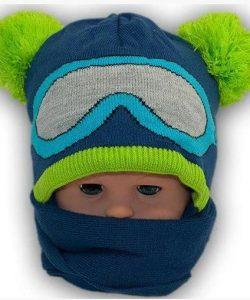 набор шапка с шарфом для мальчика маленький лыжник 7555 фотография