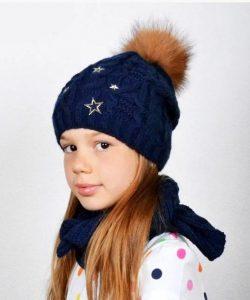 набор шапка с шарфом-хомутом на девочку 0955 фотография