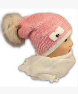 набор зимний на девочку шапка с шарфом большой помпон 890 фотография