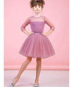 костюм для девочки подростка с пышной юбкой пудра 90052 фотография