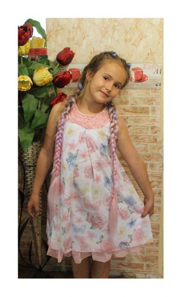 нарядное платье сарафан на девочку розы и бабочки 80919 фотография