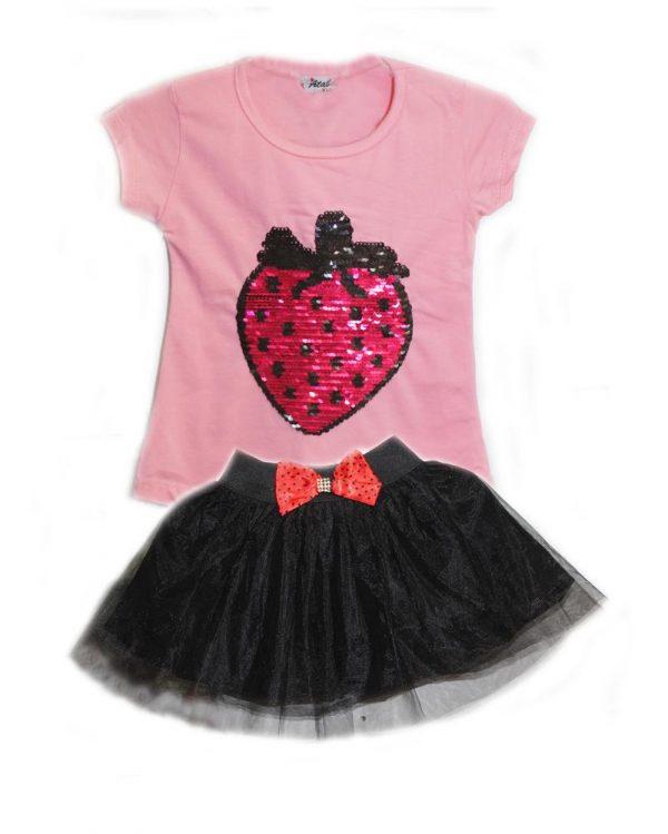 нарядный костюм для девочки с пайетками клубника 14084 фотография