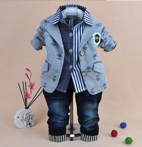 нарядный костюм на мальчика с пиджаком усы, размеры 100-130 1302166 фотография