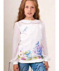 нарядная блуза для девочки с длинным рукавом 21216 фотография