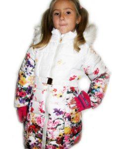 пальто на девочку зимнее, белые цветы 3010152 фотография