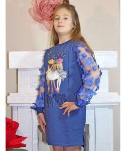 платье для девочки бабочки синее 19284 фотография