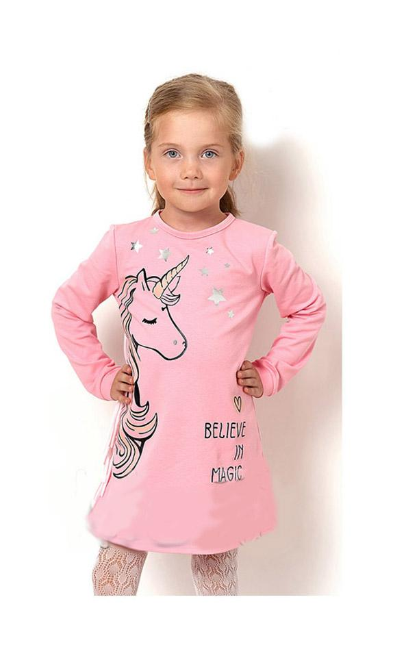 платье для девочки единорожка, розовое 2580 фотография