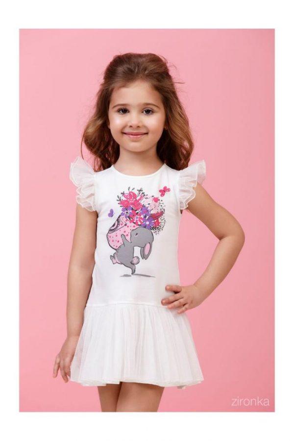 платье летнее для девочки зайчонок, размеры 98-122 8012 фотография