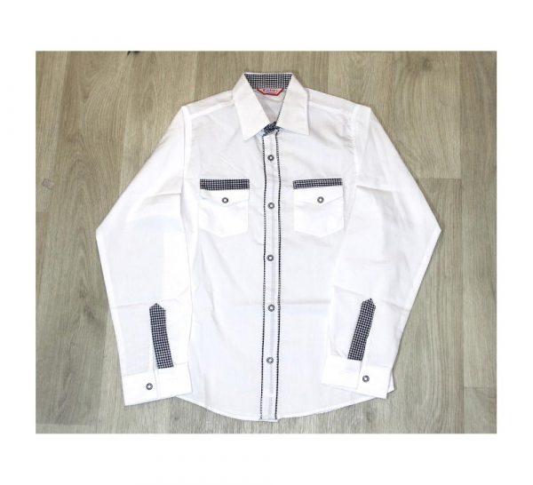 рубашка белая для мальчика с контрастной отделкой 10917 фотография