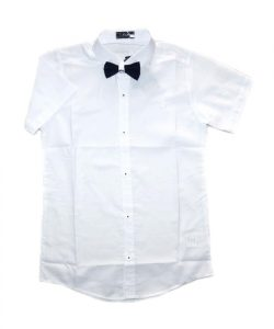рубашка для мальчика с коротким рукавом белая бабочка 5009 фотография