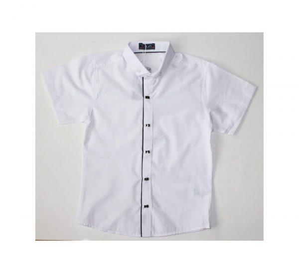 рубашка для мальчика с коротким рукавом на кнопках белая 5068 фотография