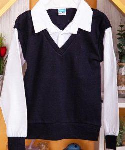 рубашка обманка с жилетом для мальчика 80816 черный фотография