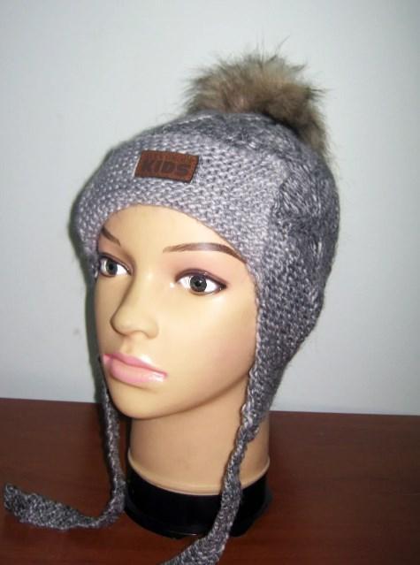 шапка для мальчика с меховым помпоном 23071 фотография