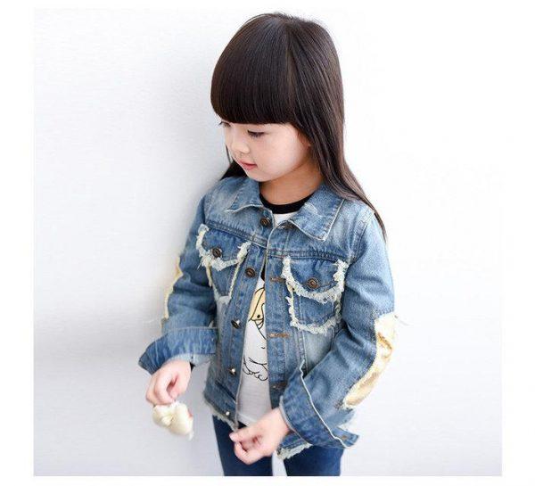 детская джинсовая куртка на девочку, котенок 6577 фотография