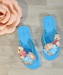 шлепанцы женские цветы голубые 82792 фотография