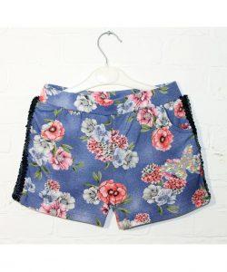 шорты на девочку пайетка синие в цветы 2273 фотография
