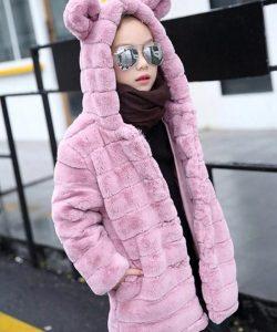 шуба для девочки розовая, ушки 3611 фотография