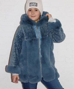 шуба для девочки с капюшоном мягкий шик 8867 фотография