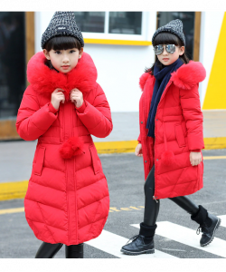 зимнее пальто на девочку викки красное 392501 фотография