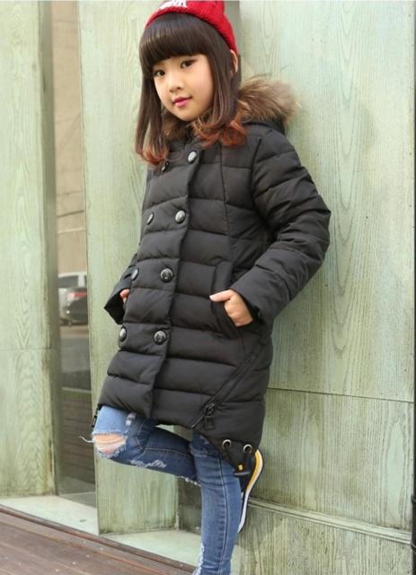 зимнее пальто пуховик на девочку 1006 фотография