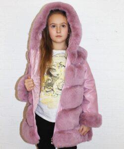 шуба для девочки с капюшоном розовый шик 1828 фотография