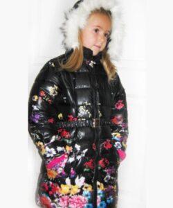 детское зимнее пальто на девочку, цветы 3010151 фотография
