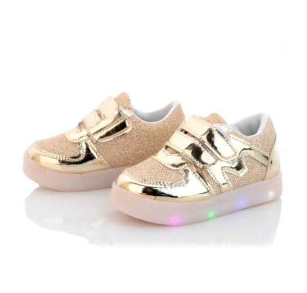 кроссовки детские для девочки с подсветкой золотые 8333 8333 фотография