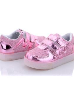 кроссовки детские для девочки с подсветкой розовые 8787 8787 фотография