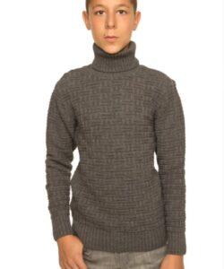 детский теплый свитер для мальчика под горло 301117 фотография