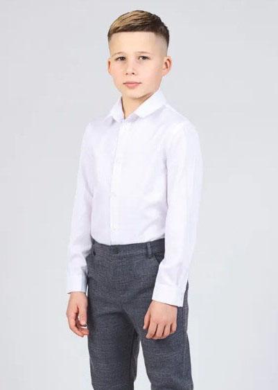 рубашка для мальчика белая с длинным рукавом 1120 фотография