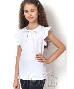 блуза для девочки с коротким рукавом белая 23066 фотография