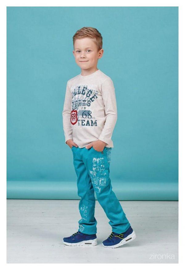 детские брюки для мальчика на резинке, бирюза 80111 фотография