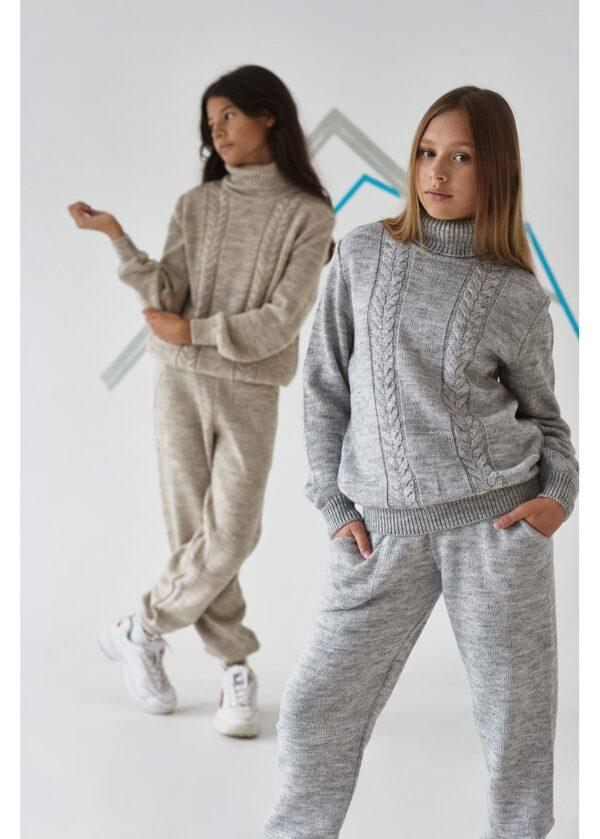 костюм для девочки подростка теплый вязаный 1631 16311 фотография