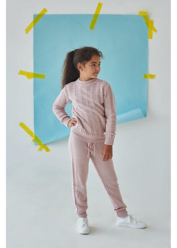 костюм для девочки теплый вязаный косичка розовый 16581 16581 фотография