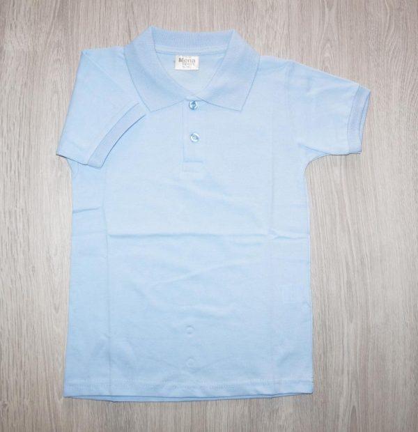 футболка поло для мальчика голубая 100555 фотография