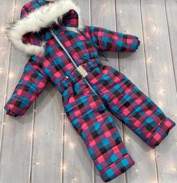 комбинезон зимний цельный для девочки клеточка 91219 фотография