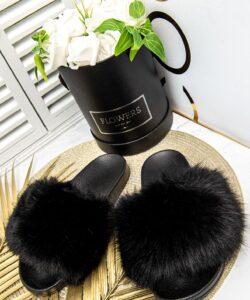 шлепанцы с меховой опушкой черные 210319 фотография