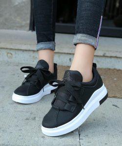 кеды кроссовки женские с широким шнурком черные 3199 фотография
