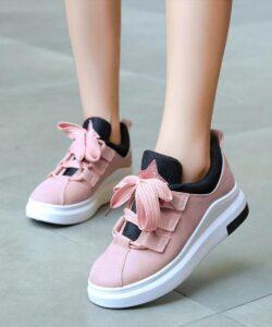 кроссовки женские с широким шнурком розовые 31999 фотография
