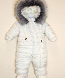 комбинезон зимний для новорожденной девочки молочный 1810201 фотография